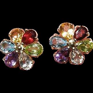 Beautiful Vintage 14k flower Earrings Amethyst,Topaz,Peridot,garnet and Citrine gemstones