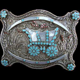 Conestoga Wagon Sterling Belt Buckle by Zuni Native American  VM Dishta StageCoach