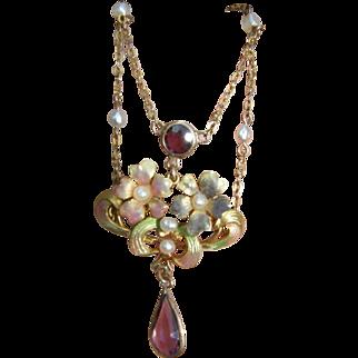 Romantic 10k Art Nouveau Enamel & Pearl Festoon Floral Necklace