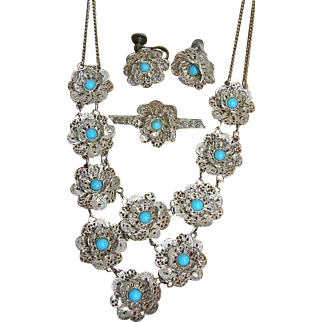 Antique Victorian silver filigree necklace bib/festoon Necklace with Turquoise Bead Earrings and pin Silver Parure