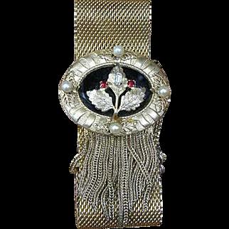 Vintage Hobe Bracelet Mesh gold tone Victorian inspired Gorgeous