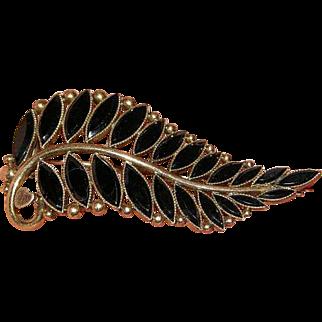Antique 14 Karat Gold with Black Onyx Memoral Brooch