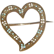 14k Enameled Heart Pin 14k Forget me not heart pin just darling scarf pin