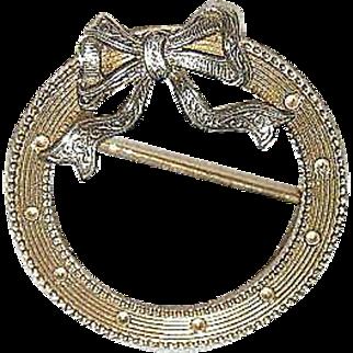 Vintage 14k circle pin yellow gold & white gold bow 14k scarf pin pretty pin 20mm