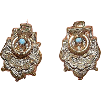 Antique Victorian Gold Filled Etruscan Revival Earrings turquoise bead screw-back 1/20th 12k