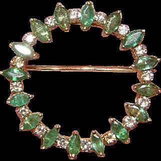 Beautiful 14k Emerald & Diamond Pin 14k Circle pin/brooch