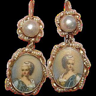 Estate Victorian 14k portrait Earrings Mabe Pearl & fresh water Pearl Earrings