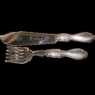 Vintage sterling handle set of Ambassador Cutlery Fish fork & Fish Knife set Sheffield England