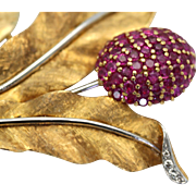 Pink Sapphire Flower Brooch 3.48 carats both 18K Yellow and White Gold