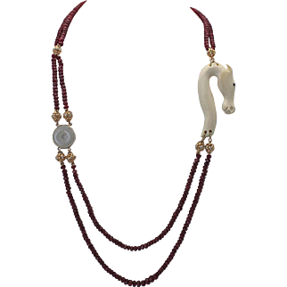 """Faceted Ruby bead Necklace with jade, bone & Diamonds 34"""" long 18K yellow gold"""