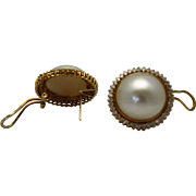 Vintage Mabe Pearl and Diamond Earrings 14K Yellow Gold