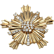 Vintage 14k Yellow Gold Starburst Cross Pendant Brooch set with 36 Diamonds
