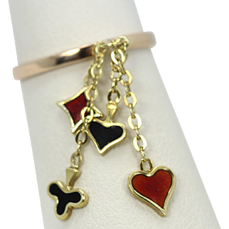 "Vintage ""Poker"" Charm Ring 14K Yellow Gold in enamel, Heart, Spade, Club and Diamond in red & Black"