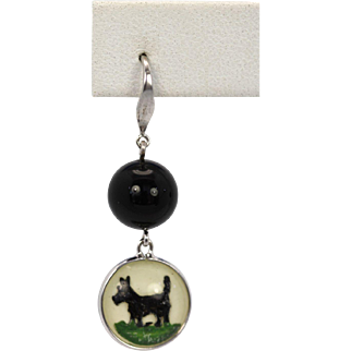 Hand Made Intaglio under-glass Scottie Dog Onyx Mother of pearl Earrings 18K White Gold