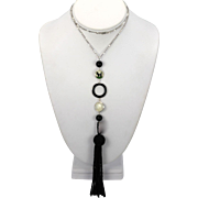 Hand Made Intaglio under-glass Scottie Dog Onyx MOP tassel necklace with 18K white gold chain