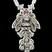 Antique Diamond Fly on Enamel Chain with Dangling Diamond Flower 18k White Gold