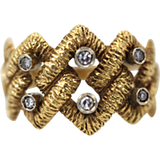 Buccellati Highly Textured Braided Ring circa 1966 six Diamonds Size 7 Handmade