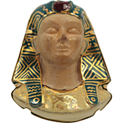 "Egyptian Revival 18K Yellow Gold Enamel Pharaoh Brooch Huge 2"" Tall Porcelain Face Circa 1930"