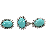 Estate Persian Turquoise Set, Ring and Earrings Surrounded by Diamonds 3.24 carats & 18-24 carats Turquoise