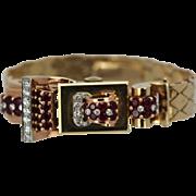 Vintage Retro Swiss Diamond Ruby Ladies Flip top watch 14K