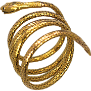 Antique French Serpent Snake Bracelet with Ruby Eyes in 18K Circa 1860