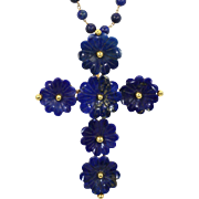 Lapis Lazuli Flower Cross Pendant with Pin 18k Yellow Gold & Bead Necklace Vintage