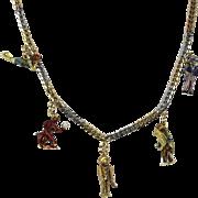 French Platinum & 18k Enamel Charm Necklace RARE Devil, Uncle Sam, Indian, Clown