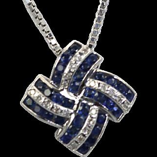 Deco style 14k Diamond 1.76 ct Sapphires 3.10 geometric necklace w/ fine box chain