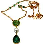 "Emerald Cabochon 5.38 carats Necklace with Saltwater Pearl 18K Yellow Gold 18""Long"