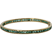 Emerald Bangle Bracelet 14k Yellow Gold 3.09 Carats with Unusual Screw Closure