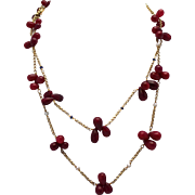 "Ruby bead tear drop necklaces (2) one w/ seed pearls & one w/ sapphires 34"" long 14k yellow gold"