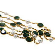 "Vintage Emerald 32.78 Carats and Pearl 18K Yellow Gold Long Chain Necklace 34"" Long"