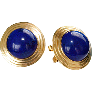 Vintage 14K Yellow Gold Lapis Lazuli Earrings, Gorgeous