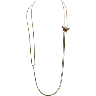 """Victorian Butterfly Mitten/Muff Chain with Rubies, Sapphires, and Mabe Pearls, 14k Yellow Gold, Extra Long 62"""""""