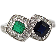 Emerald Sapphire Diamond Twin Stone 14K Solid White Gold Ring