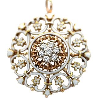 Vintage White Enamel Circle Pendant/Brooch with Diamonds 18K Gold Bar Link Chain