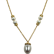 Vintage 18k Yellow Gold White South Sea Drop Pearl and Diamond Necklace