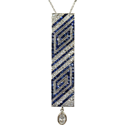 Art Deco Platinum Diamond Sapphire Geometric Brooch Pin Necklace
