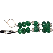 Emerald Beads 3.5 Carats with Diamond Roundels Dangle Drop Earrings, 18k + 14k White Gold,