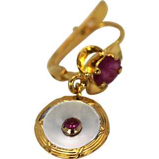 Edwardian Mother of Pearl Drop Earrings with Ruby Center & Ruby Top, 18k Yellow Gold