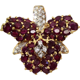Ruby & Diamond Orchid Brooch Pin Necklace Pendant 18k Yellow Gold, 9 Carats