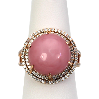 Pink Opal 11.60 carats with a double Diamond surround 14k rose gold