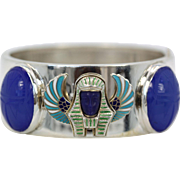 Egyptian Pharaoh Bracelet With Lapis Face and Scarab Surround Sterling Silver 925