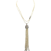 "Natural Baby Seed Pearl Necklace with 4 1/2 Pearl Tassel on 18k White Gold 32"" long Handmade"