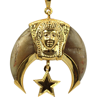 Vintage Egyptian Pharaoh Crescent STAR of the EAST with Horn and 14k Yellow Gold Chain