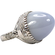 Pale Blue CHALCEDONY BULLET RING 14k Solitaire 36 Carats & Diamonds Size 6.5