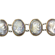 Estate Mother of Pearl Hand Carved Cameo Link Bracelet Faces on Silver