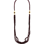 Ruby Triple Strand bead Necklace with Faceted Ruby and Diamond Stations