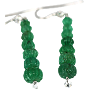 Rib Carved Fluted Emerald 18.33 Carats Drop Earrings Diamond Top and Drilled Bottom Diamond 18k White Gold