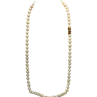 "Baroque Pearl Necklace with 76 Pearls 9.50cm each 31"" long 14K Diamond clasp"